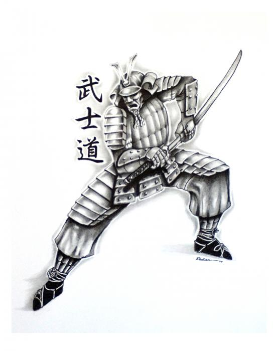 Samurai Tattoo Design 2 Drawing - Samurai Tattoo Design 2 Fine Art Print